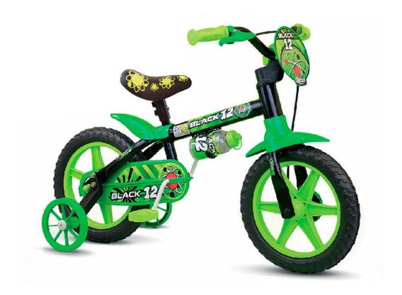 Bicicleta Infantil Nathor Aro 12 Black Masculina Selim Em Pu