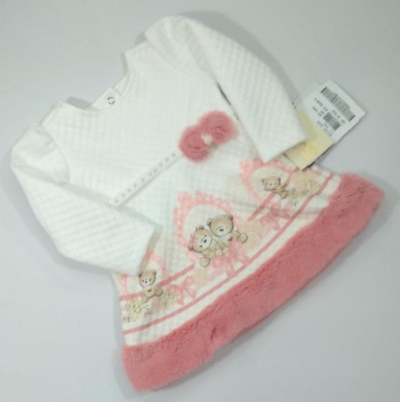 Vestido Bebê Menina Paraíso 10320 G - Veste De 9 A 12 Meses