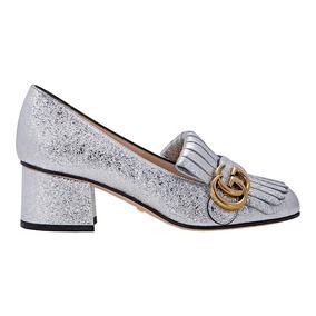 Gucci Metallic Silver Mid-heel Pump
