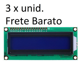 3 Display Tela Lcd 16x2 1602 Backlight Azul Arduino Oferta
