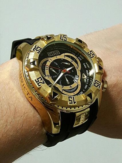 Relógio Dourado Masculino Calendário Pulseira Borracha Luxo