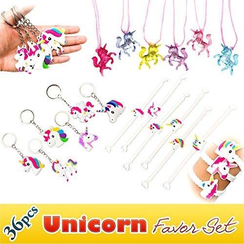 Rainbow Unicorn Toy Novedad Birthday Party Favor Set, 36 Pie