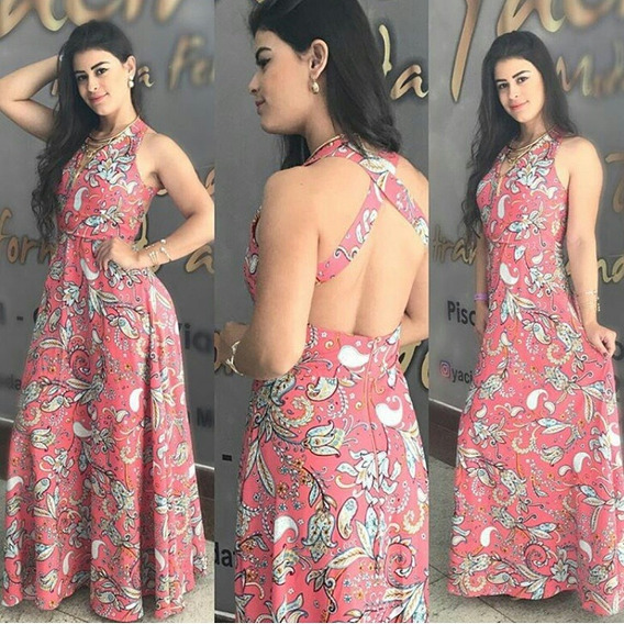 Vestido Longo De Viscose Estampado Floral Com Fundo Rosa