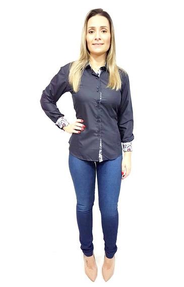 Camisa Social Feminina Slim Fit Do 36 Ao 48