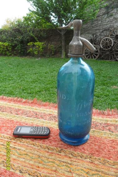 Antiguo Sifón Azul Soderia Grassi Cabeza Plomo Marcado