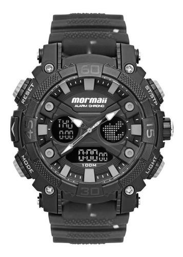 Relógio Masculino Mormaii Mo12598aa/8p 53mm Silicone Fumê
