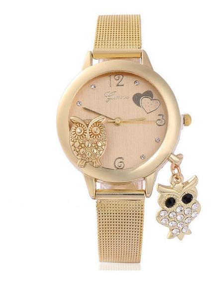 Relógios Feminino Coruja Pingente Pulso Quartzo Aço K2705
