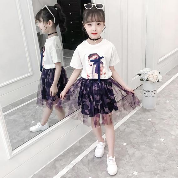 Menina Manga Curta Top + Saia Terno Branco _120cm