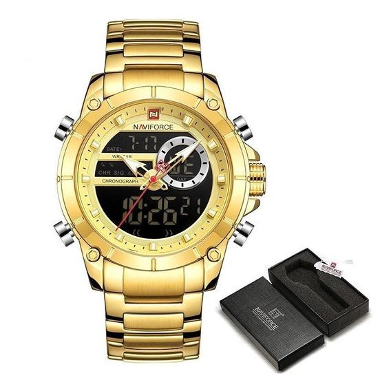 Relógio Naviforce Dourado A Pronta Entrega Em Promoção