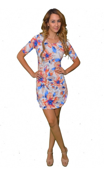 Vestido Corto U Floreado Salmon - Holly Fashion Crystal