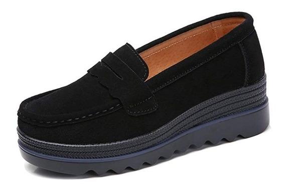 Zapato Mocasín Negro Plataforma Liviano Talle 37 - Recoleta