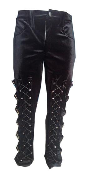Eretica Ropa Dark-pantalon Terciopelo Hebillas Costado-gotic