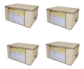 4 Caixa Organizadora Closet Guarda Roupa Edredom Cobertor