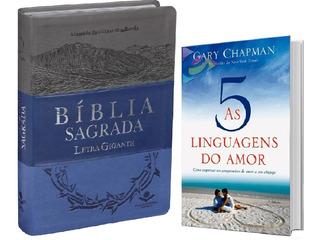 Bíblia Letra Gigante Indice + Livro As 5 Linguagens Do Amor