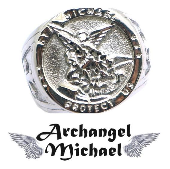 Anel São Miguel Arcanjo Exército Celestial Aço 316l Aro 32
