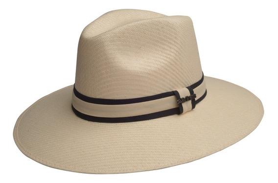 Sombrero Tipo Panamá Para Hombre Con Un Fino Listón Mod. Francesco Material Rígido De Rio Grande