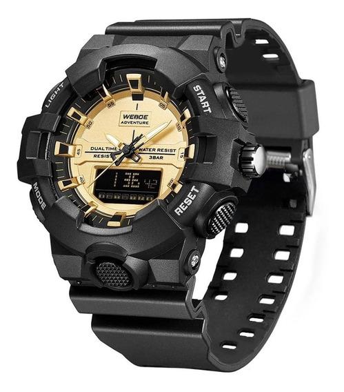 Relógio Masculino Shock Preto E Dourado