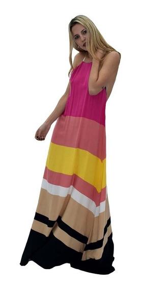 Vestido Largo Rayado Horizontal Nuevo