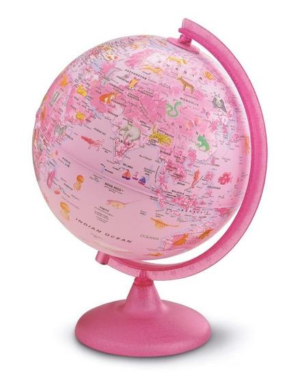 Globo Terrestre Politico Iluminado Rosa 25cm Bivolt