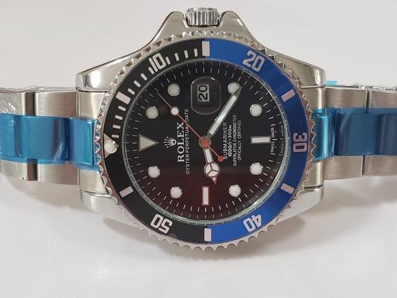 Relógio Masculino Catraca Azul Com Preto / Caixa 45mm