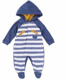 Macacão Longo Baby Em Boucle Com Capuz.