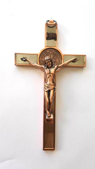 Crucifixo Cruz Jesus São Bento Medalha Bronze 17cm