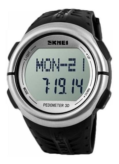 Relógio Pedômetro Masculino Skmei Digital Preto E Prata