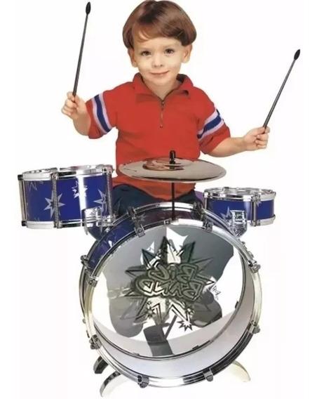 Bateria Musical Infantil Criança Big Band Azul Ou Vermelho