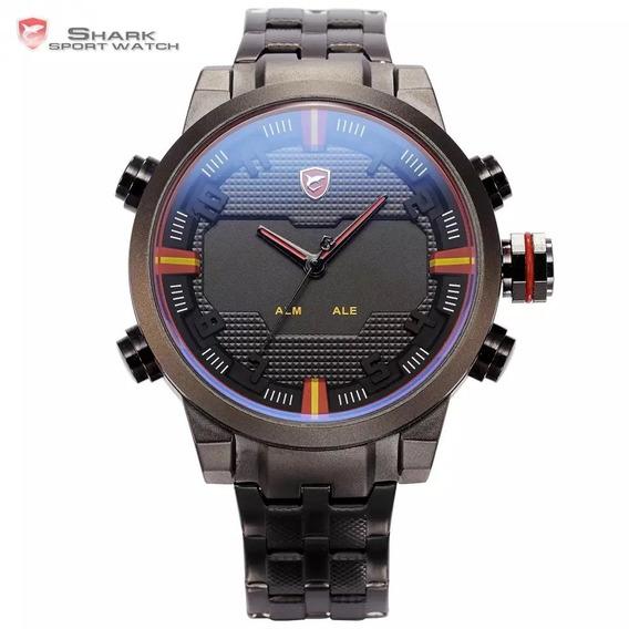 Relógio De Luxo Led Shark Em Aço Inoxidavel Sh197