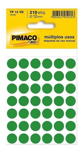 2 Etiqueta Adesiva P/ Codificação 12mm Verde  Pt 210 Un