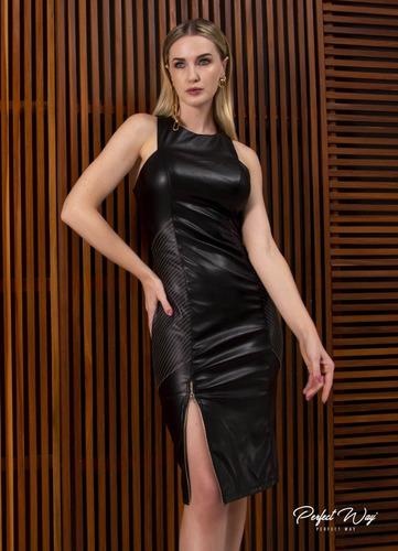 Vestido Midi Com Ziper Na Frente Preto Perfect Way