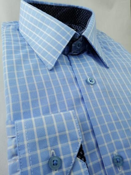 Camisa Paolo Cielo Cuadros Comfort Fit Algodón Envío Gratis