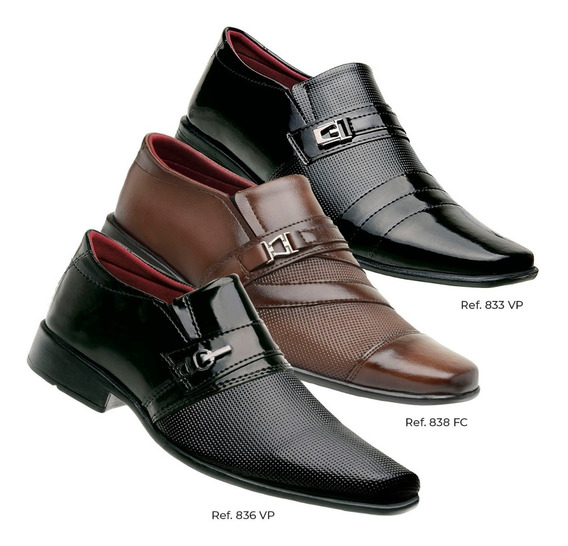 Sapato Bico Fino De Couro Masculino Compre Dois E Leve Três
