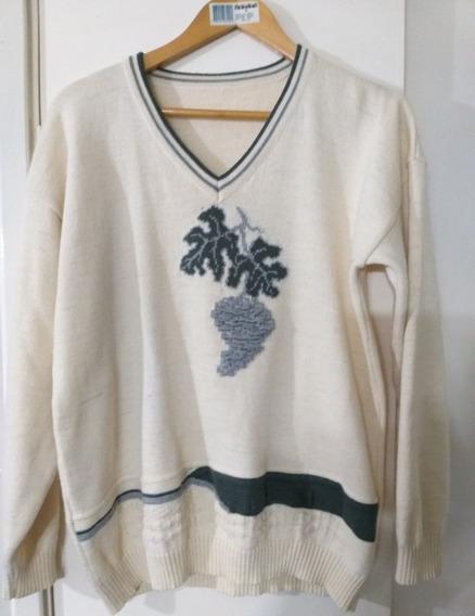 Sweater Lana Mezcla Bordado Mujer Uvas Lage