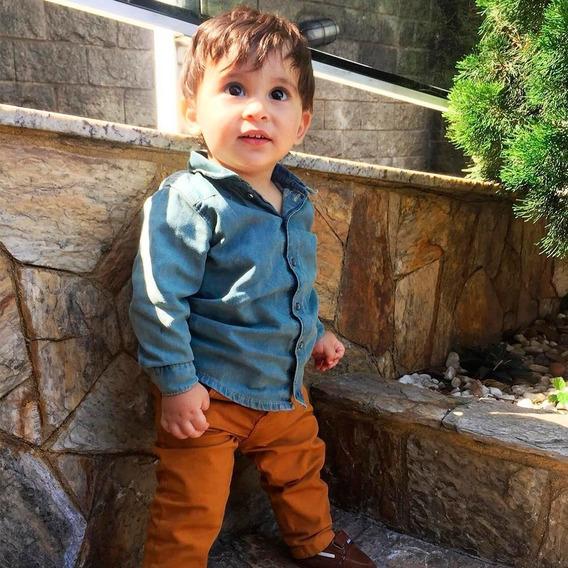 Conjunto Luxo Paraiso Moda Bebe Menino Longo Jeans Ref 8031