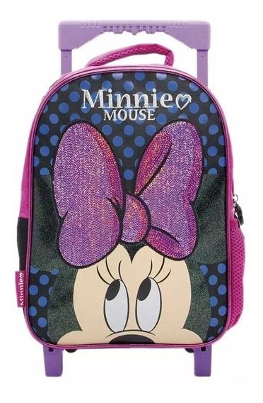 Mochila Minnie Mouse Glitter Con Carrito 12 Pulgadas Jardin
