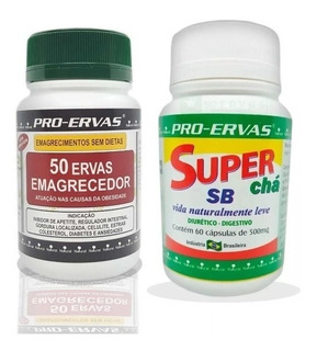 Kit Super Chá Sb Caps Com Remedio Extra Forte 50ervas