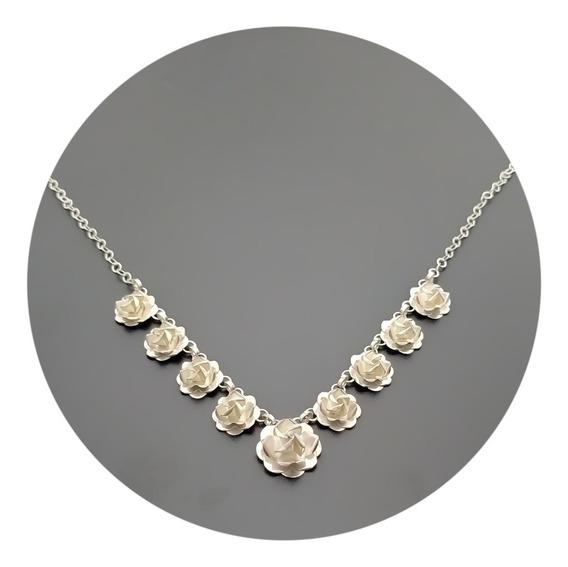 Collar Gargantilla Rosas Artesanales Plata 925
