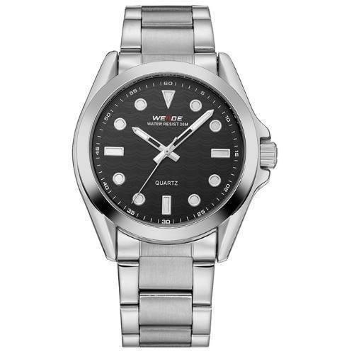 Relógio Weide Prata / Preto Masculino Aço Inox Wh802b-1c