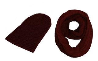 Combo Gorro Tuka+bufanda Cuello Fibra Acrílic Fashion Colore