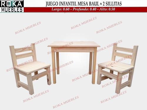 Imagen 1 de 5 de Juego Infantil Mesa Baul + 2 Sillitas De Niño Pino Roka