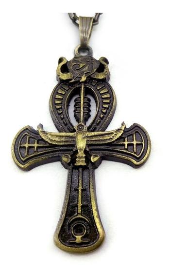 Cordão Ankh Cruz Ansata Águia Amuleto Egípcio