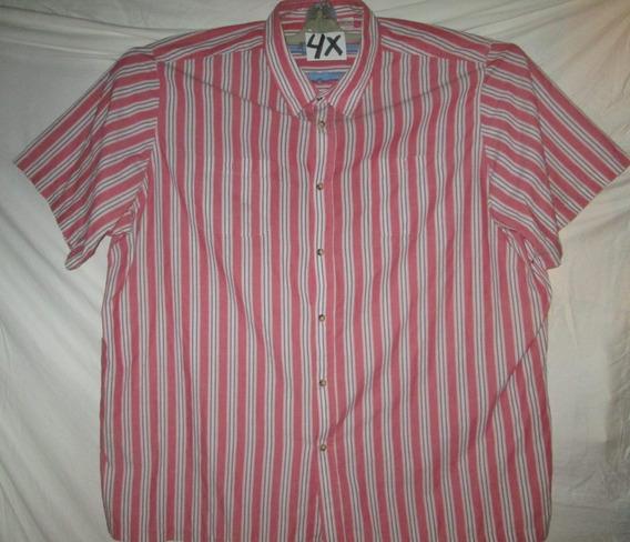 Camisa Casual Coral De Rayas De Caballero Talla 4x