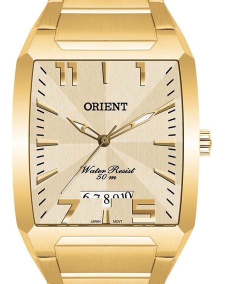 Relógio Orient Masculino Dourado Ggss1007 C2kx Quadrado + Nf