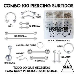 Piercing Lote 100 Aros Acero Quirurgico + Caja De Regalo