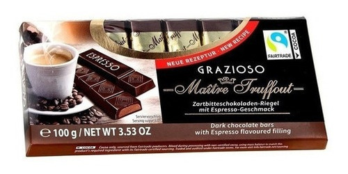 Imagen 1 de 1 de Chocolate Maître Truffout Grazioso Dark Espresso 100 Gr