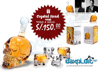 Licorera / Decantador Crystal Head 550ml + 4 Vasitos