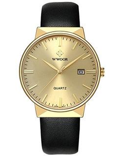 Reloj De Cuarzo Analógico De Los Hombres De Wwoor Correa D