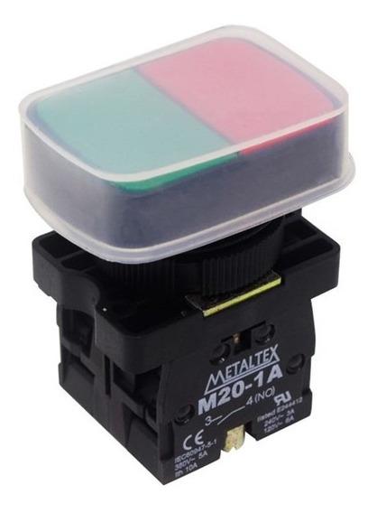 Botão Duplo Pulsador 22mm 1na+1nf P20apl-1c Com Capa Protetora Metaltex