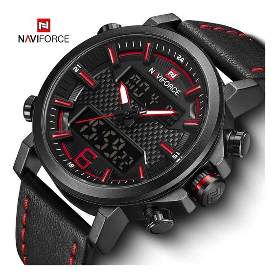 Relógio Naviforce Masculino Pulseira Couro + Garantia + Caix